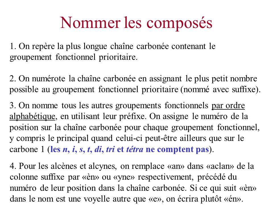 Nommer les composés 3. On nomme tous les autres groupements fonctionnels par ordre alphabétique, en utilisant leur préfixe. On assigne le numéro de la