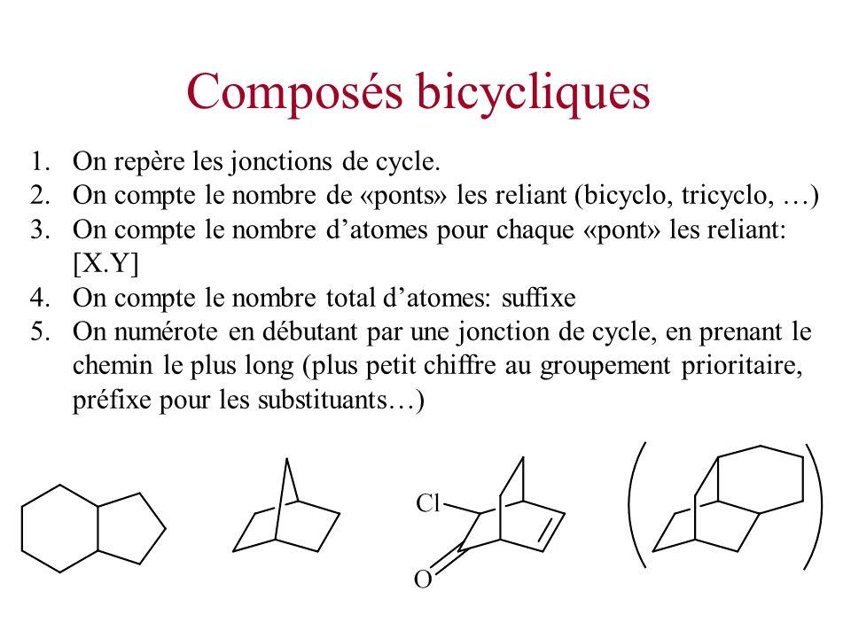 Composés bicycliques 1.On repère les jonctions de cycle. 2.On compte le nombre de «ponts» les reliant (bicyclo, tricyclo, …) 3.On compte le nombre dat