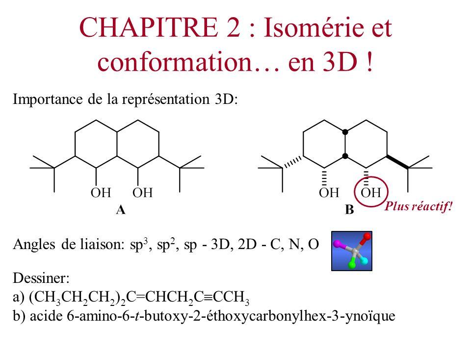 CHAPITRE 2 : Isomérie et conformation… en 3D ! Importance de la représentation 3D: Angles de liaison: sp 3, sp 2, sp - 3D, 2D - C, N, O Dessiner: a) (