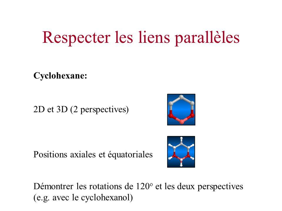 Respecter les liens parallèles Cyclohexane: 2D et 3D (2 perspectives) Positions axiales et équatoriales Démontrer les rotations de 120 o et les deux p