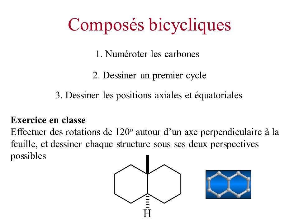 Composés bicycliques 2. Dessiner un premier cycle 1. Numéroter les carbones Exercice en classe Effectuer des rotations de 120 o autour dun axe perpend