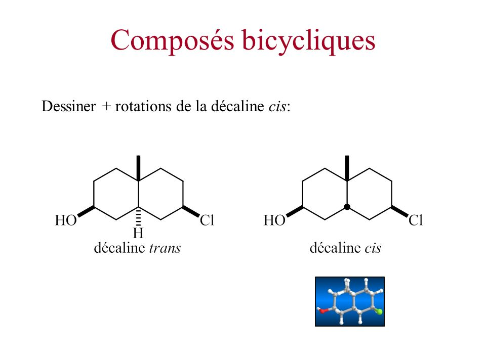 Composés bicycliques Dessiner + rotations de la décaline cis: