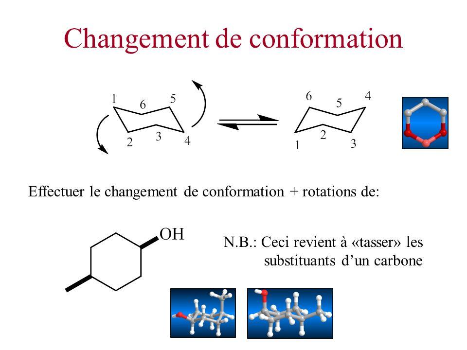 Changement de conformation Effectuer le changement de conformation + rotations de: N.B.: Ceci revient à «tasser» les substituants dun carbone
