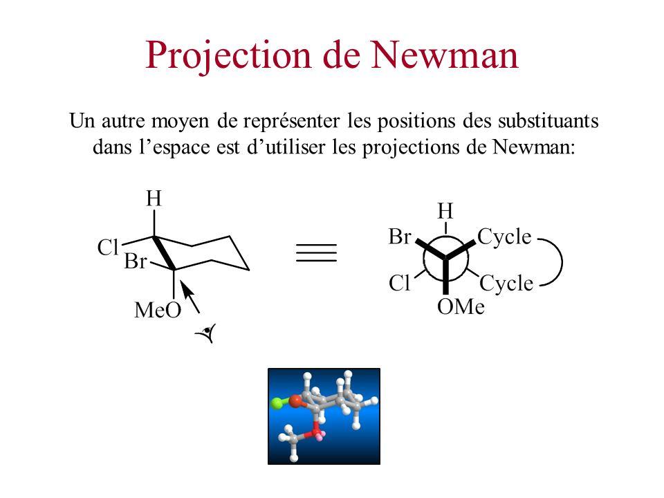 Projection de Newman Un autre moyen de représenter les positions des substituants dans lespace est dutiliser les projections de Newman: