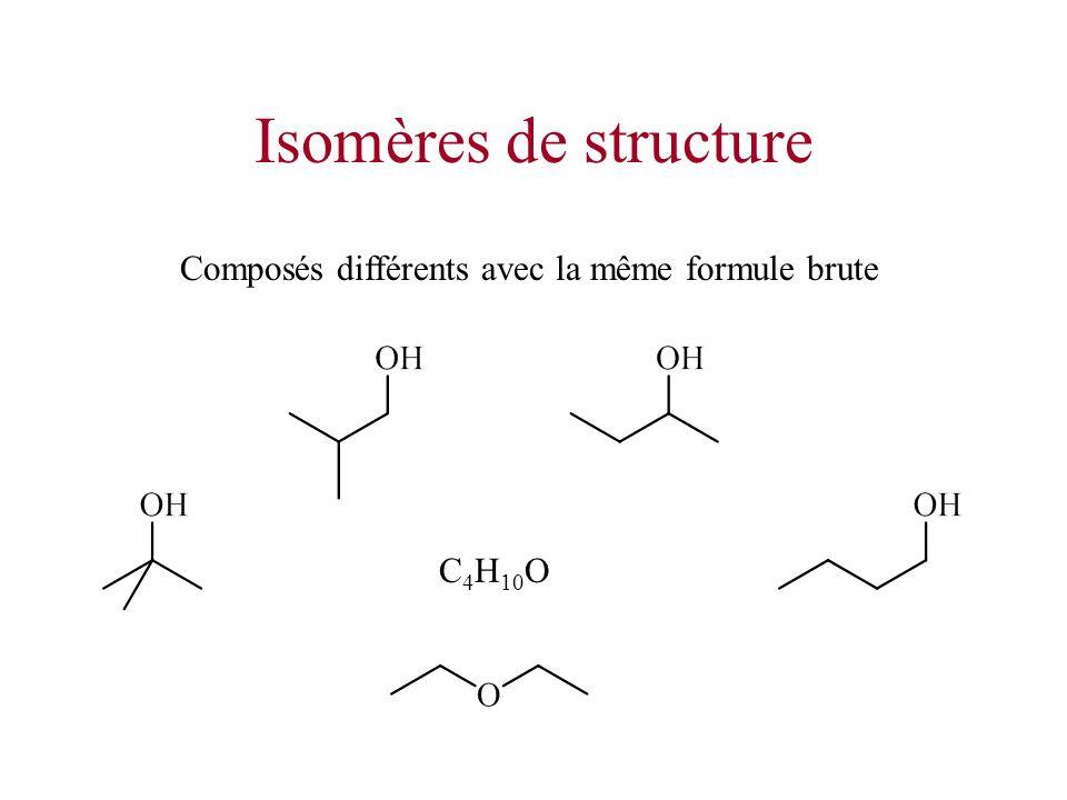 Isomères de structure Composés différents avec la même formule brute C 4 H 10 O
