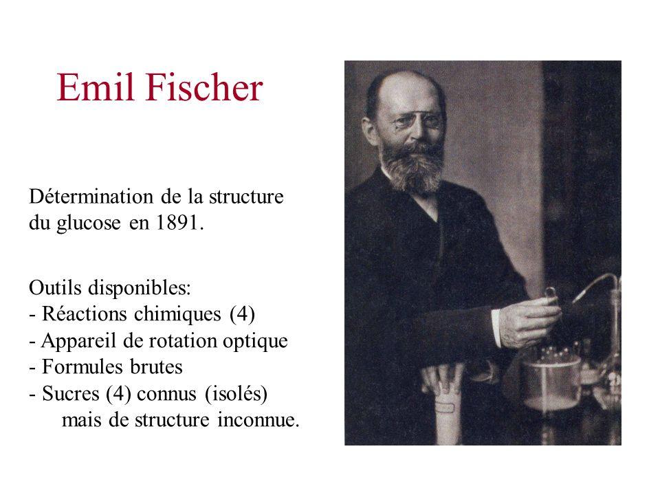 Emil Fischer Détermination de la structure du glucose en 1891. Outils disponibles: - Réactions chimiques (4) - Appareil de rotation optique - Formules