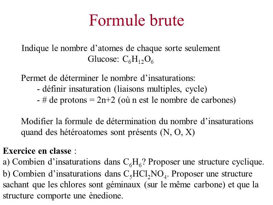 Formule brute Indique le nombre datomes de chaque sorte seulement Glucose: C 6 H 12 O 6 Permet de déterminer le nombre dinsaturations: - définir insat
