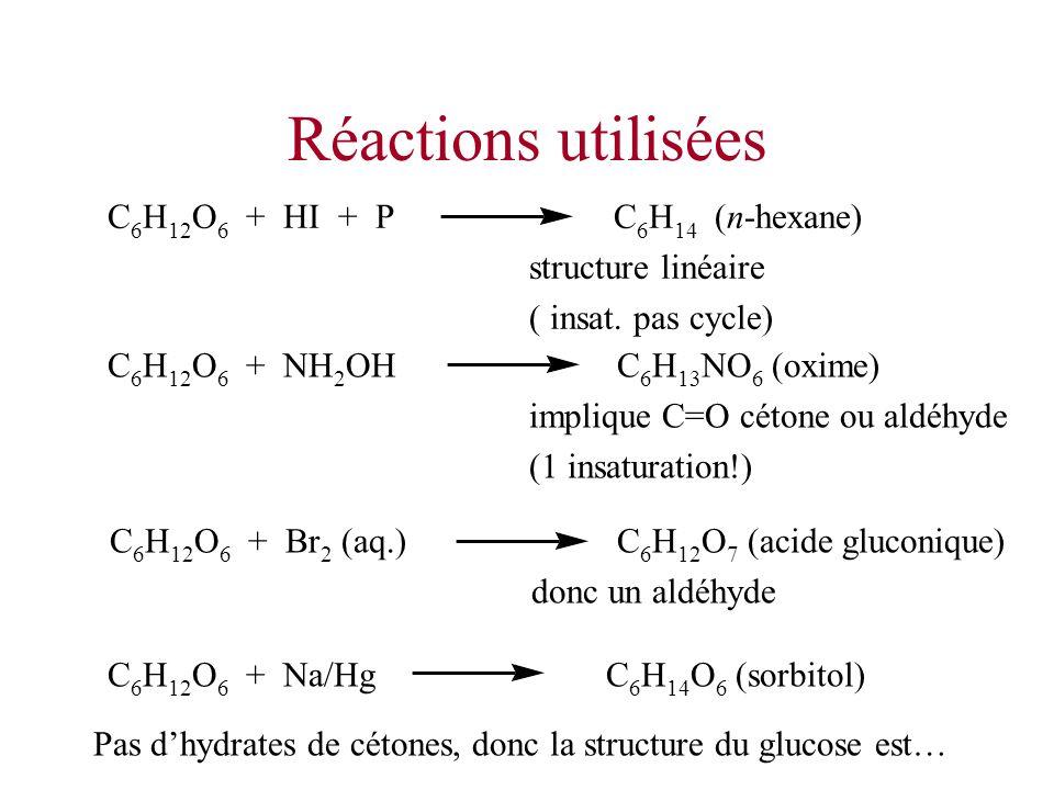 Réactions utilisées C 6 H 12 O 6 + HI + P C 6 H 14 (n-hexane) structure linéaire ( insat. pas cycle) C 6 H 12 O 6 + NH 2 OH C 6 H 13 NO 6 (oxime) impl