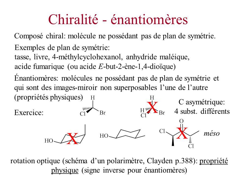 Chiralité - énantiomères Exemples de plan de symétrie: tasse, livre, 4-méthylcyclohexanol, anhydride maléique, acide fumarique (ou acide E-but-2-ène-1