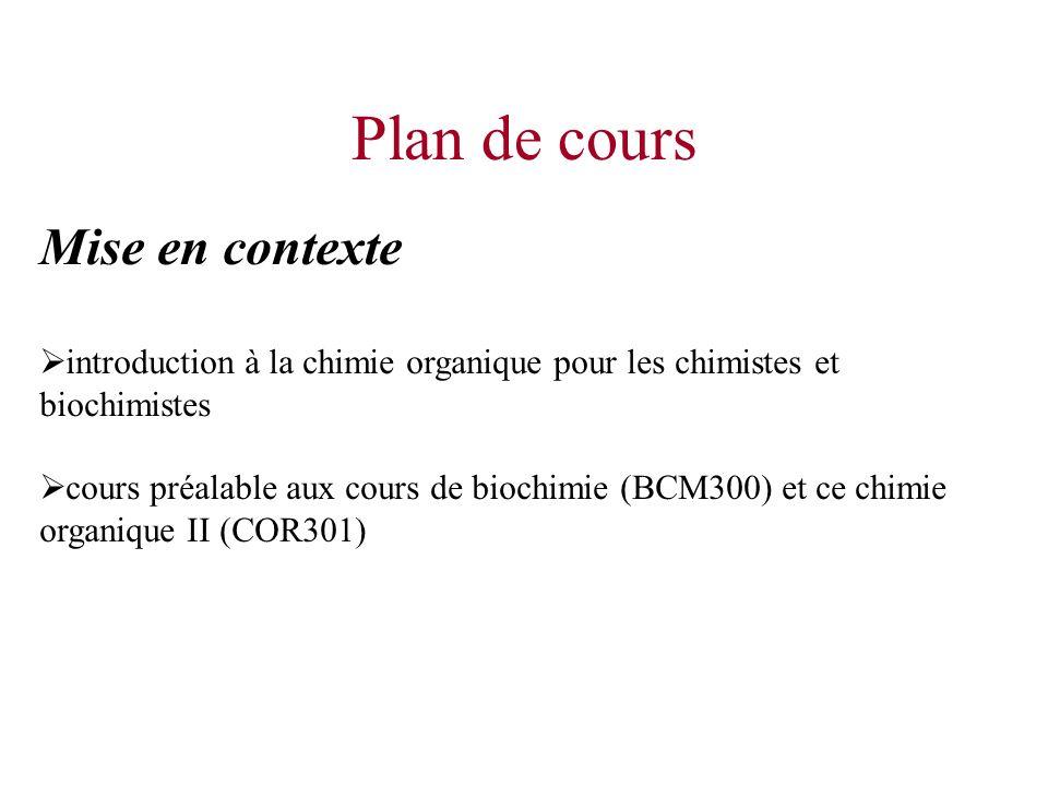 Mise en contexte introduction à la chimie organique pour les chimistes et biochimistes cours préalable aux cours de biochimie (BCM300) et ce chimie or