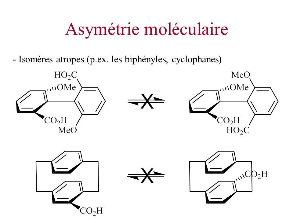 Asymétrie moléculaire - Isomères atropes (p.ex. les biphényles, cyclophanes)