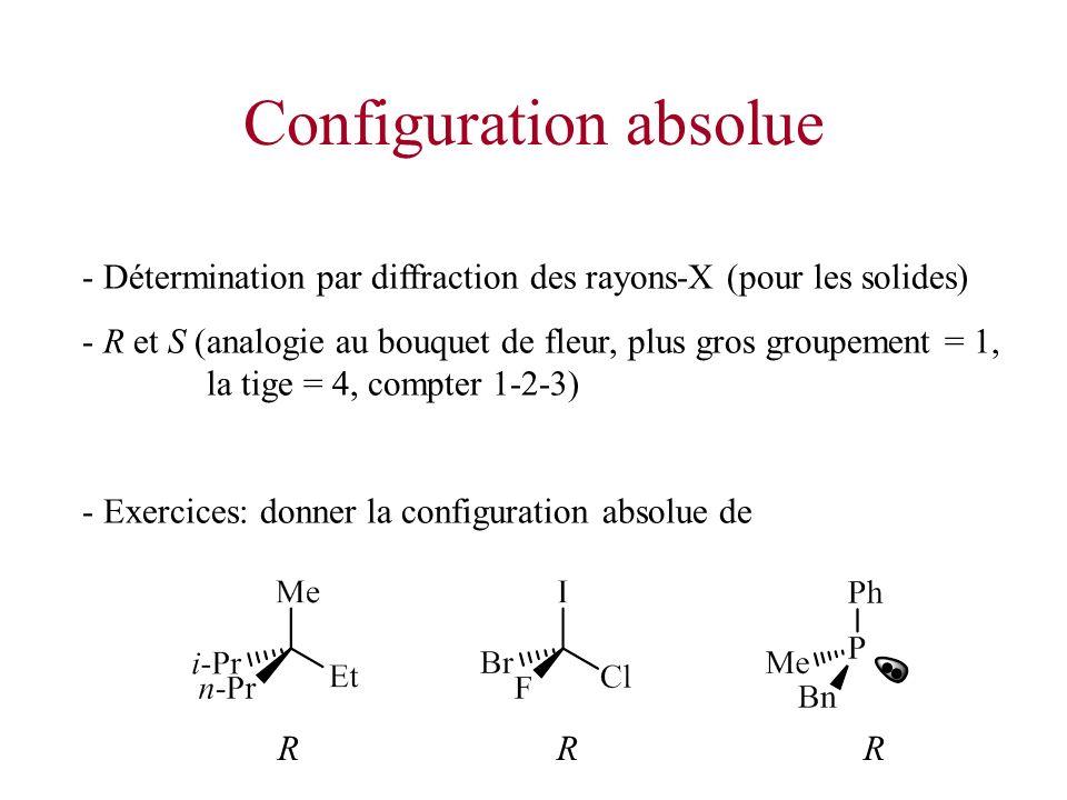 Configuration absolue - Détermination par diffraction des rayons-X (pour les solides) - R et S (analogie au bouquet de fleur, plus gros groupement = 1