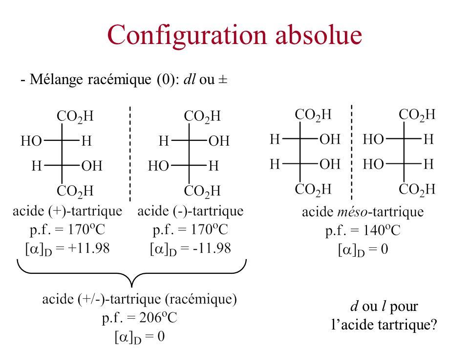 Configuration absolue - Mélange racémique (0): dl ou ± d ou l pour lacide tartrique?