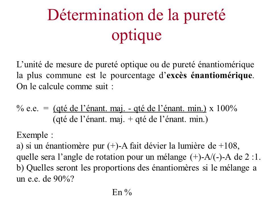 Détermination de la pureté optique Lunité de mesure de pureté optique ou de pureté énantiomérique la plus commune est le pourcentage dexcès énantiomér