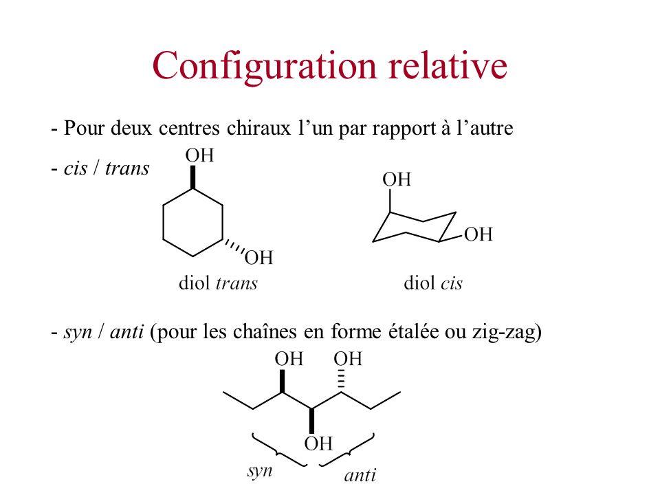 Configuration relative - Pour deux centres chiraux lun par rapport à lautre - cis / trans - syn / anti (pour les chaînes en forme étalée ou zig-zag)