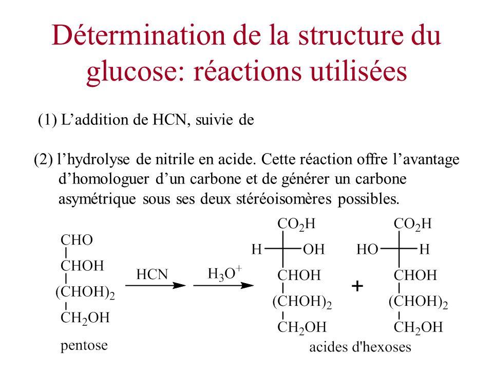 Détermination de la structure du glucose: réactions utilisées (1) Laddition de HCN, suivie de (2) lhydrolyse de nitrile en acide. Cette réaction offre