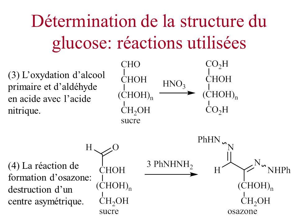 Détermination de la structure du glucose: réactions utilisées (4) La réaction de formation dosazone: destruction dun centre asymétrique. (3) Loxydatio
