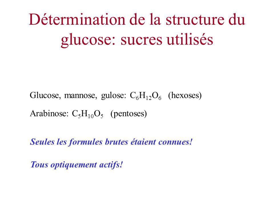 Détermination de la structure du glucose: sucres utilisés Glucose, mannose, gulose: C 6 H 12 O 6 (hexoses) Arabinose: C 5 H 10 O 5 (pentoses) Tous opt