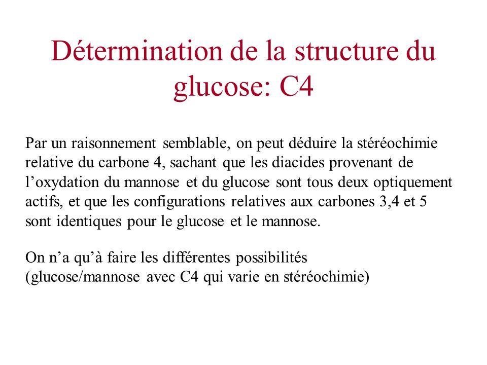 Détermination de la structure du glucose: C4 Par un raisonnement semblable, on peut déduire la stéréochimie relative du carbone 4, sachant que les dia