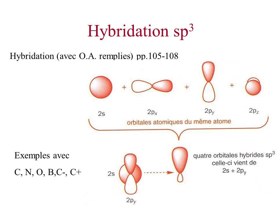 Hybridation sp 3 Hybridation (avec O.A. remplies) pp.105-108 Exemples avec C, N, O, B,C-, C+