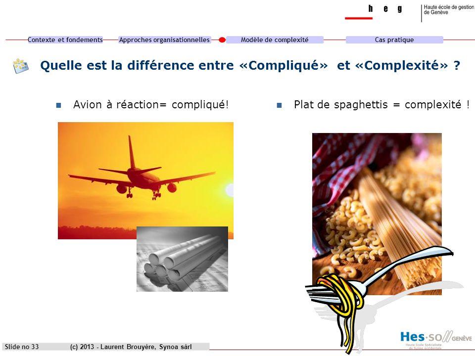 Contexte et fondementsApproches organisationnellesModèle de complexitéCas pratique (c) 2013 - Laurent Brouyère, Synoa sàrlSlide no 33 Quelle est la di