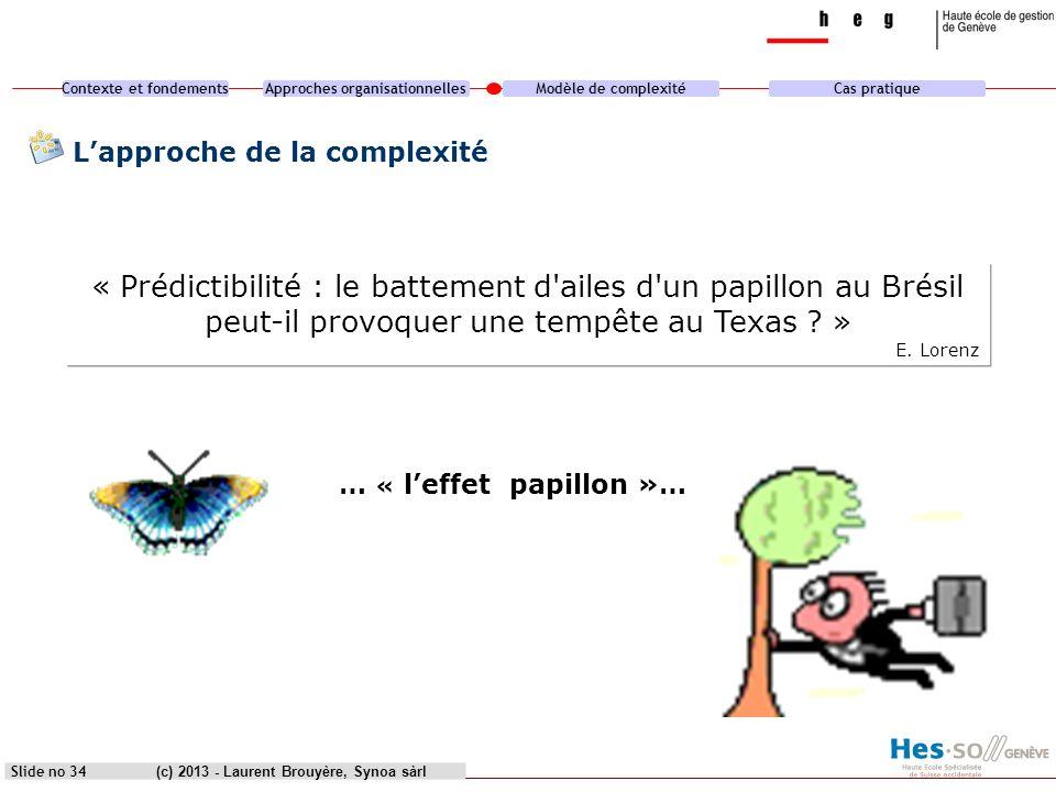 Contexte et fondementsApproches organisationnellesModèle de complexitéCas pratique (c) 2013 - Laurent Brouyère, Synoa sàrlSlide no 34 Lapproche de la