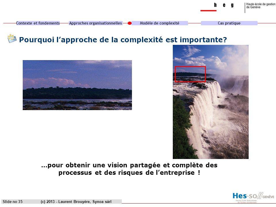 Contexte et fondementsApproches organisationnellesModèle de complexitéCas pratique (c) 2013 - Laurent Brouyère, Synoa sàrlSlide no 35 Pourquoi lapproc