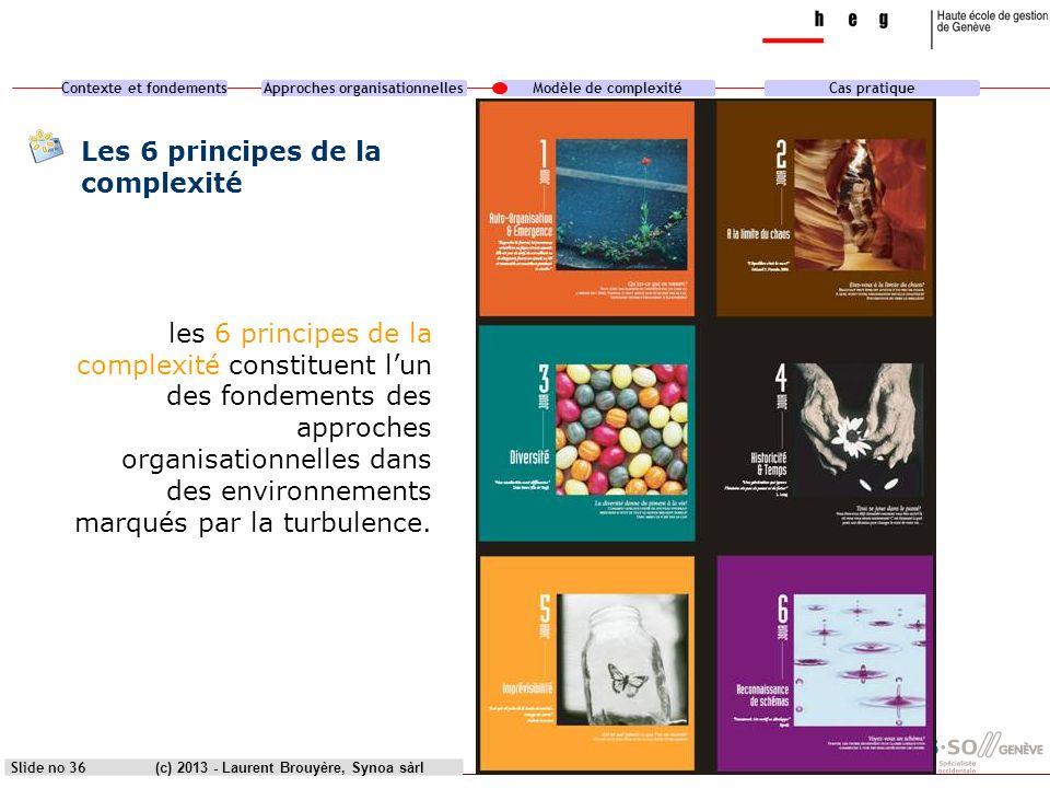 Contexte et fondementsApproches organisationnellesModèle de complexitéCas pratique (c) 2013 - Laurent Brouyère, Synoa sàrlSlide no 36 Les 6 principes