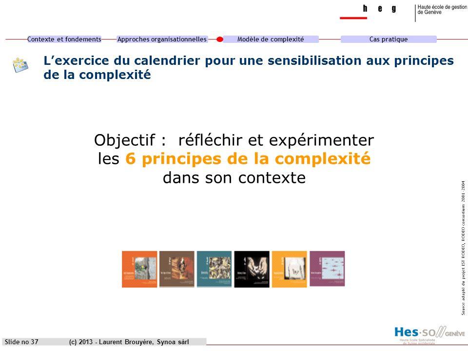 Contexte et fondementsApproches organisationnellesModèle de complexitéCas pratique (c) 2013 - Laurent Brouyère, Synoa sàrlSlide no 37 Lexercice du cal