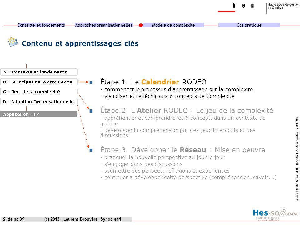 Contexte et fondementsApproches organisationnellesModèle de complexitéCas pratique (c) 2013 - Laurent Brouyère, Synoa sàrlSlide no 39 Contenu et appre
