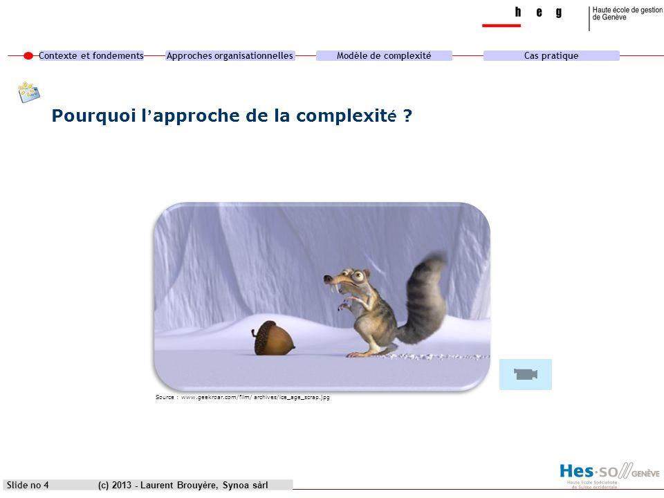 Contexte et fondementsApproches organisationnellesModèle de complexitéCas pratique (c) 2013 - Laurent Brouyère, Synoa sàrlSlide no 4 Pourquoi l approc