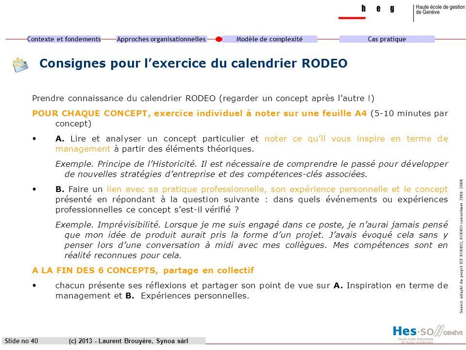 Contexte et fondementsApproches organisationnellesModèle de complexitéCas pratique (c) 2013 - Laurent Brouyère, Synoa sàrlSlide no 40 Consignes pour l