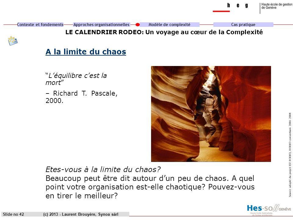 Contexte et fondementsApproches organisationnellesModèle de complexitéCas pratique (c) 2013 - Laurent Brouyère, Synoa sàrlSlide no 42 LE CALENDRIER RO