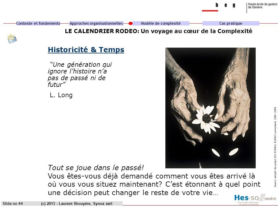 Contexte et fondementsApproches organisationnellesModèle de complexitéCas pratique (c) 2013 - Laurent Brouyère, Synoa sàrlSlide no 44 LE CALENDRIER RO
