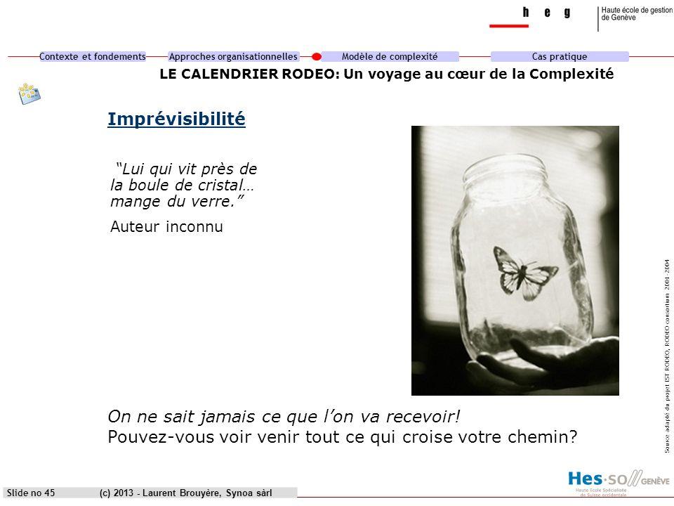 Contexte et fondementsApproches organisationnellesModèle de complexitéCas pratique (c) 2013 - Laurent Brouyère, Synoa sàrlSlide no 45 LE CALENDRIER RO