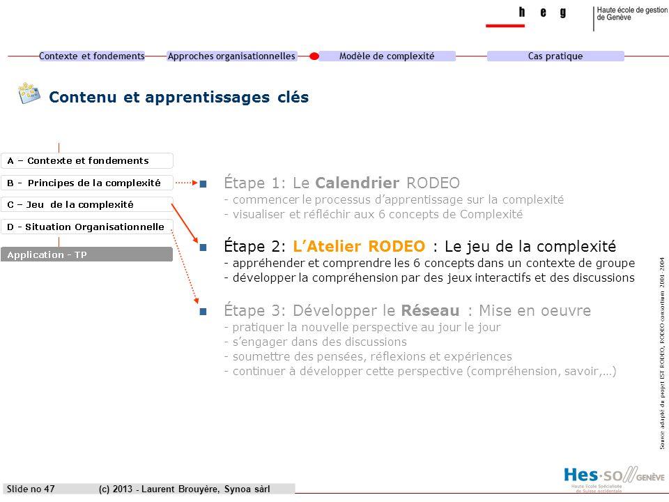 Contexte et fondementsApproches organisationnellesModèle de complexitéCas pratique (c) 2013 - Laurent Brouyère, Synoa sàrlSlide no 47 Contenu et appre