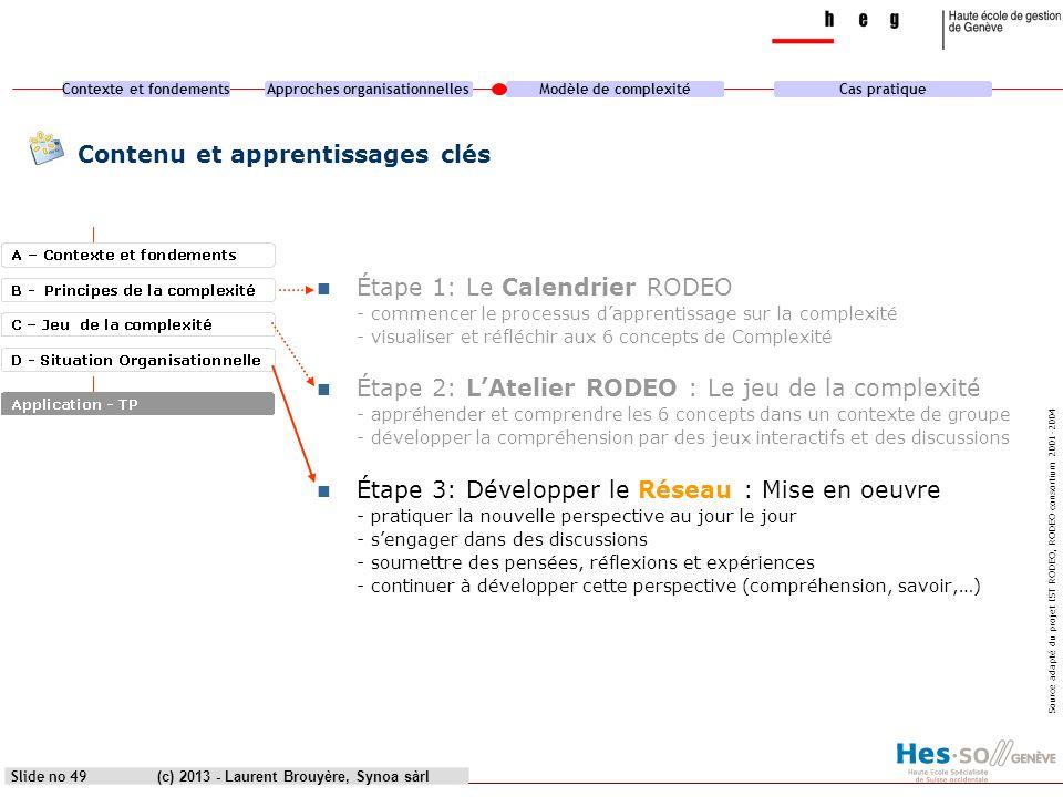 Contexte et fondementsApproches organisationnellesModèle de complexitéCas pratique (c) 2013 - Laurent Brouyère, Synoa sàrlSlide no 49 Contenu et appre