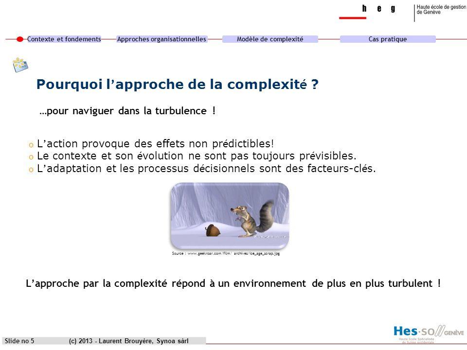 Contexte et fondementsApproches organisationnellesModèle de complexitéCas pratique (c) 2013 - Laurent Brouyère, Synoa sàrlSlide no 5 o L action provoq