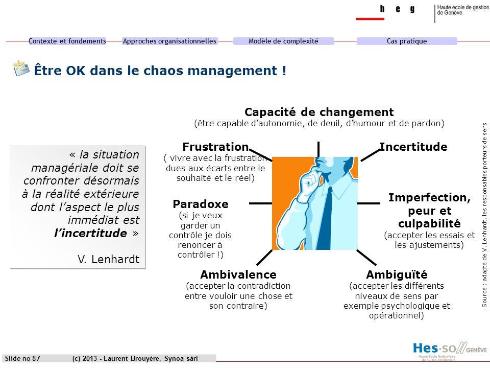 Contexte et fondementsApproches organisationnellesModèle de complexitéCas pratique (c) 2013 - Laurent Brouyère, Synoa sàrlSlide no 87 Être OK dans le