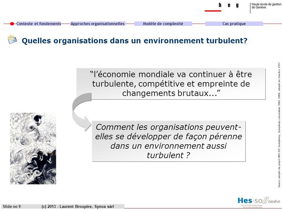 Contexte et fondementsApproches organisationnellesModèle de complexitéCas pratique (c) 2013 - Laurent Brouyère, Synoa sàrlSlide no 9 Quelles organisat