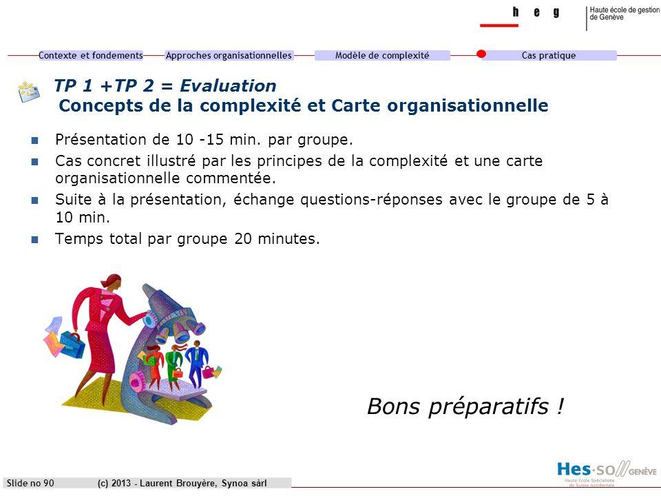 Contexte et fondementsApproches organisationnellesModèle de complexitéCas pratique (c) 2013 - Laurent Brouyère, Synoa sàrl TP 1 +TP 2 = Evaluation Con