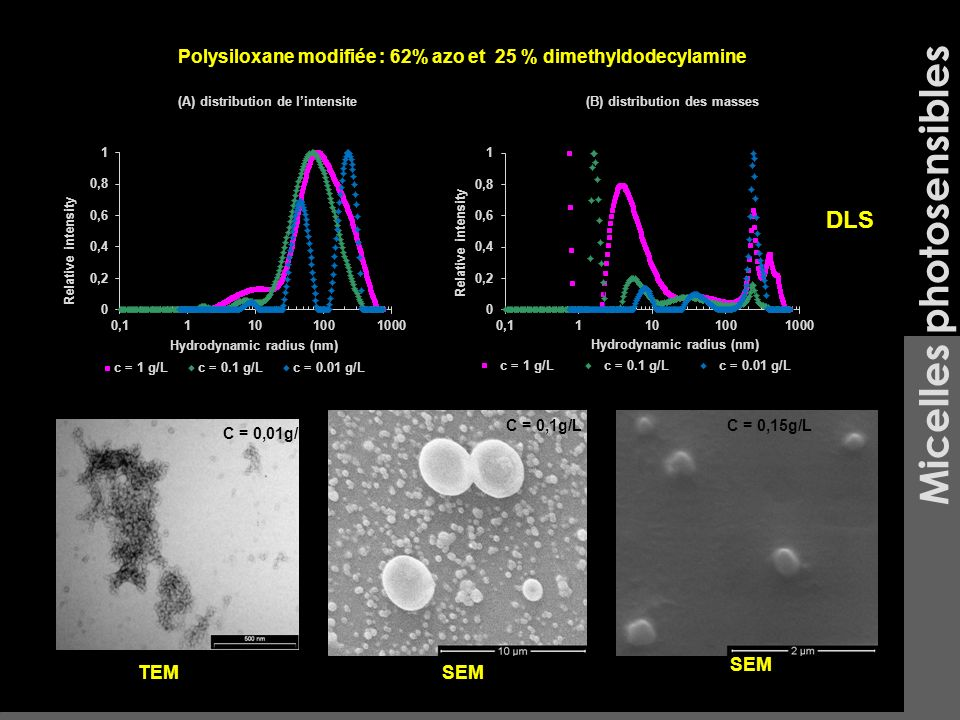 Micelles photosensibles C = 0,01g/L C = 0,1g/LC = 0,15g/L TEMSEM Polysiloxane modifiée : 62% azo et 25 % dimethyldodecylamine (A) distribution de lint