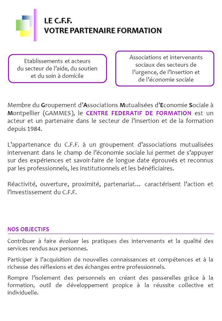 CONDITIONS GENERALES DE DEROULEMENT DES FORMATIONS CONVENTION DE FORMATION Une convention est établie pour toute action de formation conformément à la législation, entre le commanditaire et le C.F.F.