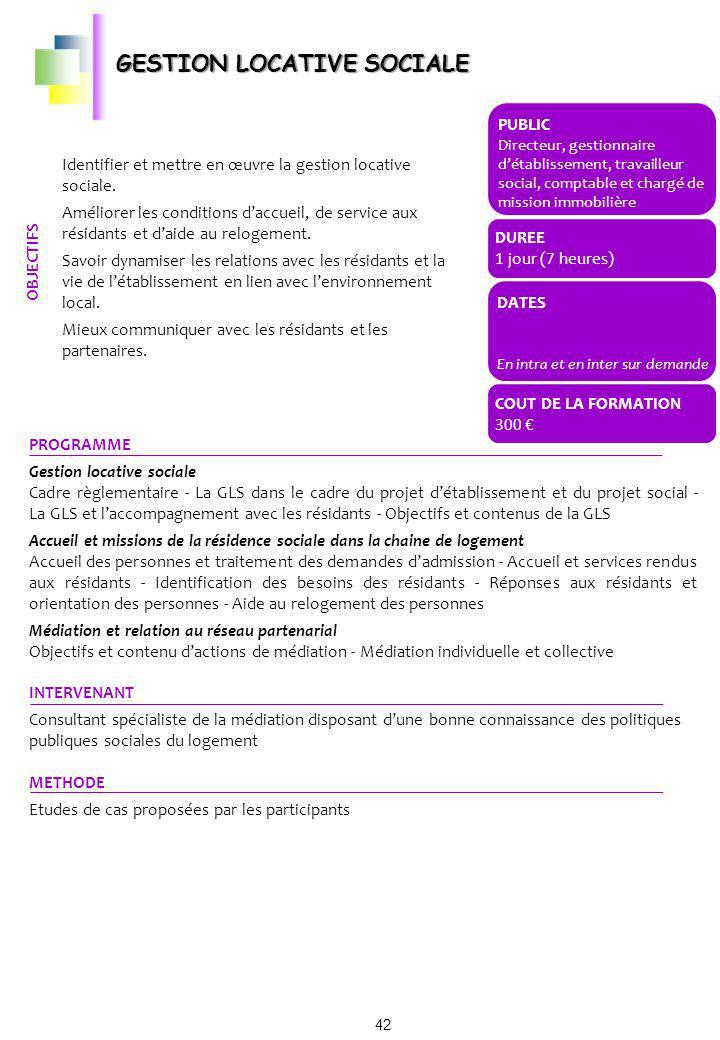 PROGRAMME Gestion locative sociale Cadre règlementaire - La GLS dans le cadre du projet détablissement et du projet social - La GLS et laccompagnement