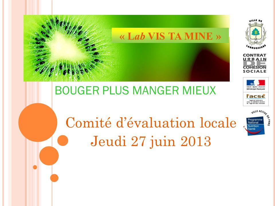 Comité dévaluation locale Jeudi 27 juin 2013 « Lab VIS TA MINE » BOUGER PLUS MANGER MIEUX