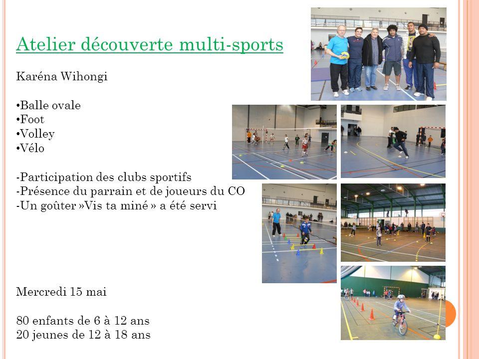 Atelier découverte multi-sports Karéna Wihongi Balle ovale Foot Volley Vélo -Participation des clubs sportifs -Présence du parrain et de joueurs du CO -Un goûter »Vis ta miné » a été servi Mercredi 15 mai 80 enfants de 6 à 12 ans 20 jeunes de 12 à 18 ans