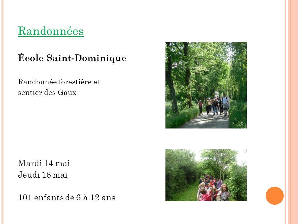 Randonnées École Saint-Dominique Randonnée forestière et sentier des Gaux Mardi 14 mai Jeudi 16 mai 101 enfants de 6 à 12 ans