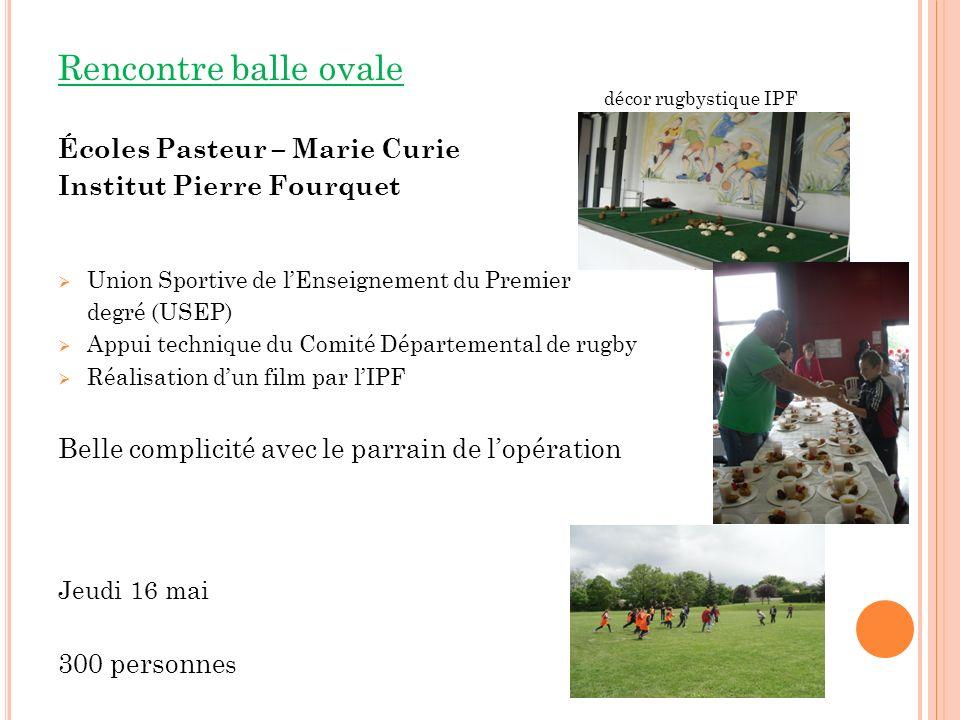 Rencontre balle ovale Écoles Pasteur – Marie Curie Institut Pierre Fourquet Union Sportive de lEnseignement du Premier degré (USEP) Appui technique du