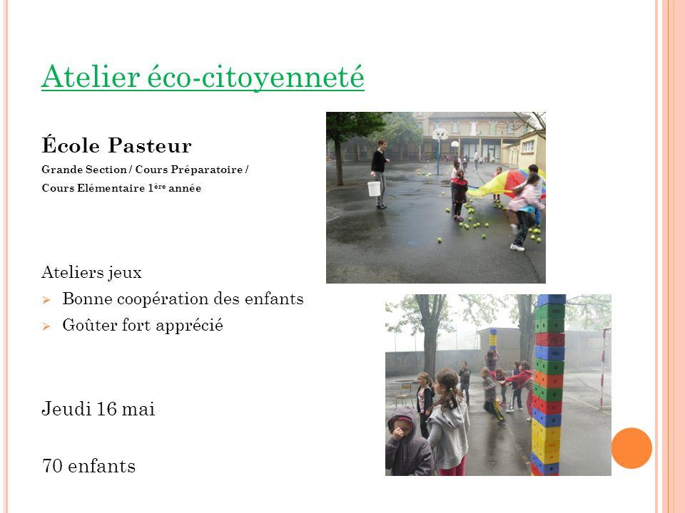 Atelier éco-citoyenneté École Pasteur Grande Section / Cours Préparatoire / Cours Elémentaire 1 ère année Ateliers jeux Bonne coopération des enfants