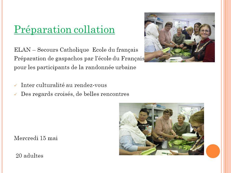 Préparation collation ELAN – Secours Catholique Ecole du français Préparation de gaspachos par lécole du Français pour les participants de la randonné